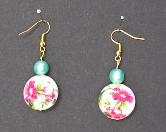 Blue and Gold Floral Earrings