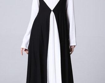 Long sleeve dress,  linen dress, long linen dress, custom dress, white linen dress, women maxi linen skirt with Diamond block color   (1172)