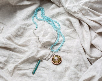 March Birthstone Bracelet, Blue Aquamarine Gemstone Handmade Spiritual Jewelry, Precious Mala Beads, Yoga Bracelet