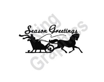 Season Greetings - Machine Embroidery Design, Winter Sleigh, Horse