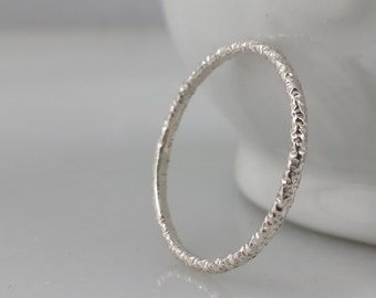 Ultra thin Sterling Silver Faceted Starburst Ring - Silver Stacking Ring - Standard Ring or Midi Knuckle Ring