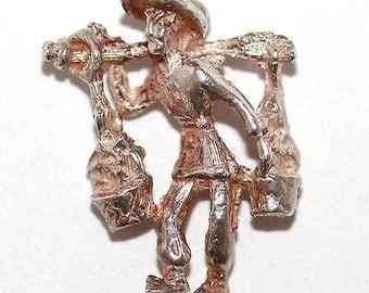 Vintage Sterling Silver Bracelet Charm 3d Man Carrying Baskets (2.1g)