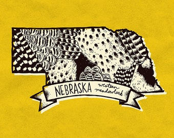 Nebraska State Bird Print- Western Meadowlark, 8x10 inches.