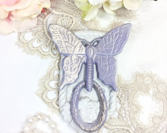 Vintage Butterfly Cast Iron Door Knocker, Shabby Chic, Cottage, French Country Style #B265
