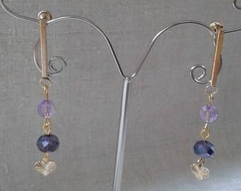 Purple and small heart earrings