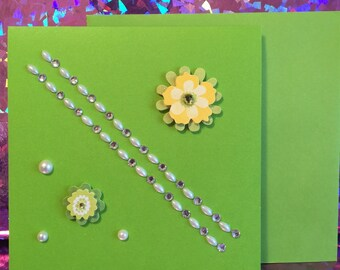 Item No. S7 - Stationery - Green Flower and Pearls - Blank Note Card -  Adazzle4U Mother's Day Stationery