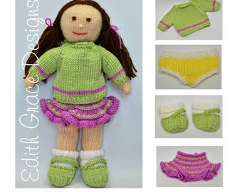 Doll Knitting Pattern - Rag Doll - Toy Knitting Pattern - Doll Making - Skirt - Jumper - Pants - Yarn Doll - Knit Doll - Dolls Clothes