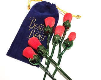 FREE SHIPPING Beauty and the Beast Style Enchanted Rose Makeup Brushes 6 Set