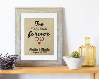 2 Years Down Forever to Go, 2nd Wedding Anniversary Gift for Husband, Gift for Wife, Second Anniversary Gift, Personalize for ANY Year