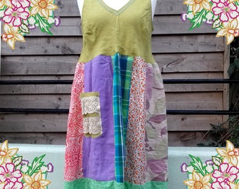 L 1X  Cotton and linen patchwork summer dress.  upcycled preloved eco fashion refashion altered clothing