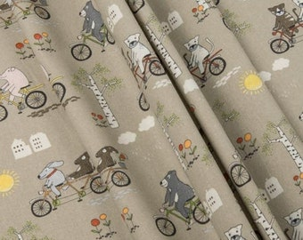 Bicycle fabric animal cotton birch print cat pig bear rabbit hare sun houses flowers clouds Woodland Quilting for baby nursery girl boy