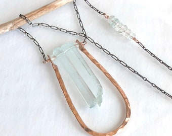 Aquamarine Necklace, Aquamarine Crystal Necklace - Mixed Metals Sterling silver and Rose Gold