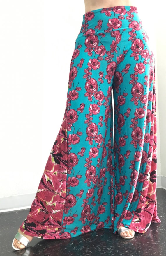 High Waisted Palazzo Pant - Pink and Teal - M/L