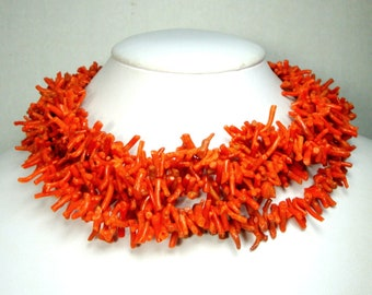 5 Strand Frangia CORAL Choker, 1950s Italian Branch Stick Necklace, Very FULL Mediterranean STATEMENT Vintage