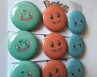 Pokemon Set of 3 Pin Button Badges, Bulbasaur, Charmander and Squirtle