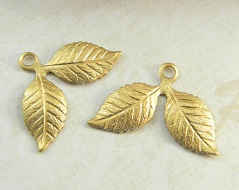 12 pcs, Double Leaves, Brass Leaf Charms, Raw Brass Stamping, Brass Finding, Dapped Dapt 26mm x 17mm -  (r297)