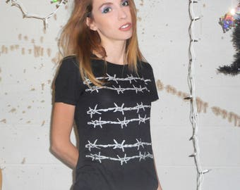 Metallic Silver Barbed Wire Print Scoop Neck Black T Shirt -- Made to Order -- Sizes xs, s, m, l, xl, xxl