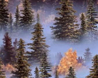 Fat Quarter Mountain Forest Trees Sewing Cotton Quilting Fabric