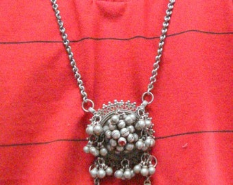 vintage antique tribal old silver necklace pendant chain belly dance jewelry