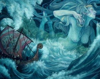 Viking Norse Ocean Goddess Illustration 12x17