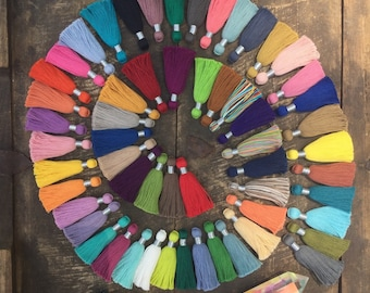 "The Perfect 2"" Jewelry Tassel, Mala Necklace Cotton Tassel, Jewelry Making Supply, Silver Binding 2"", Summer, Fall Fashion Trend, 6+ Tassels"