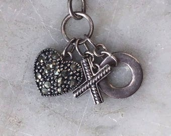 Sterling Silver 925 Marcasite Heart Charm Necklace X and O Hugs + Kisses Love Charms // Sweetheart Anniversary Gift Jewelry // Gift for Her