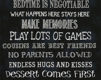 "24"" Fabric Panel Timeless Treasure Grandparent House Rule Chalkboard Wallhanging"