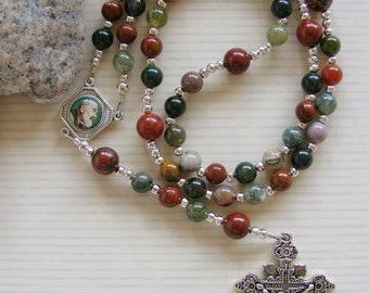 Fancy Jasper - Red Creek Jasper Handmade Rosary - Red Green Gemstone Beads - Catholic Rosary - Made in the UK