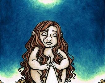 5x7 inch gnome woman stars fantasy art print, Purity