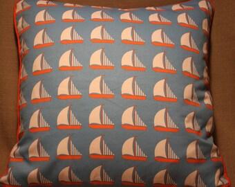"17"" cushion cover Bright blue and orange Sailing Boats Yachts Nautical"