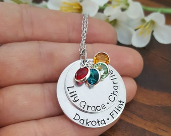 Personalized Grandmothers Necklace With Kids Names and Birthstones   Grandma Necklace   Necklace For Grandma  Gifts For Grandma or Nana