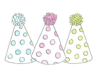 Watercolor Birthday Party Hats // Planner Clipart