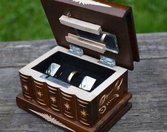 Wife to husband gift, Gift for men, Wooden cufflink box, Anniversary gifts men, Birthday gift for him, Unique gift idea, Small Secret box