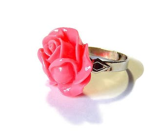 Pink Rose Ring, Kawaii Flower Adjustable Ring