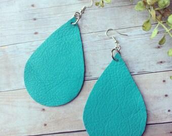 XLarge Teardrop leather earrings, green leather teardrop earrings, green leather earrings
