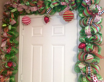 Whimsical Christmas Garland - Red and Green Door Garland - Christmas Garland - Christmas Mantel Decor - Deluxe Christmas Garland & Whimsical Christmas Garland Red and Green Door Garland