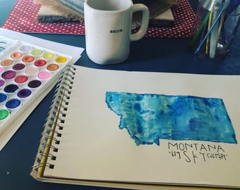 State watercolor. State art. Home. United States.