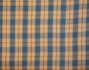 Homespun Fabric | Cotton Fabric | Sewing Fabric | Craft Fabric | Rag Quilt Fabric | Blue Natural And Khaki Large Plaid Fabric