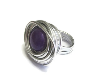 purple ring, wire jewellery, chunky rings, big rings, wire rings, bold rings, wrap rings, adjustable ring, statement ring, silver tone rings