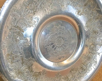 Vintage Aluminium Serving Tray- Butterfly motif