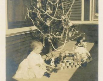 vintage photo 1908 Baby Sits on Porch Xmas Tree Toys Doll blocks
