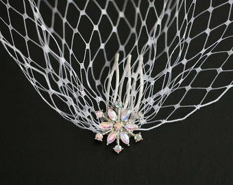 Two Snowflake Hair Combs Soft White Birdcage Veil Bandeau Style Veil Winter Wonderland Wedding
