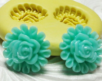 ROSE ROSETTE FLOWER Mold Silicone Rubber Push Mold for Resin Wax Fondant Clay Fimo Ice 4733