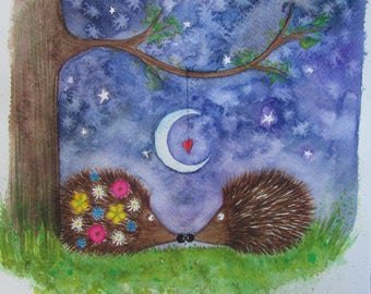 Hedgehogs Original Painting