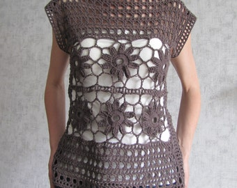 Chocolate brown crocheted top