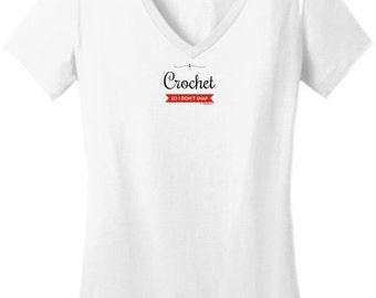 I Crochet So I Don't Snap Junior's V-Neck T-Shirt  DT6501 - PP-401