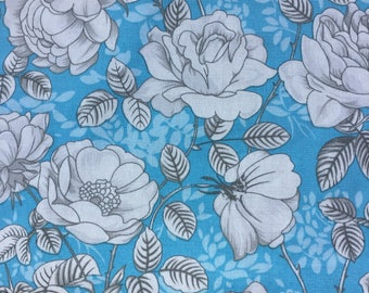 Blue and white floral fabric cotton poplin fabric UK