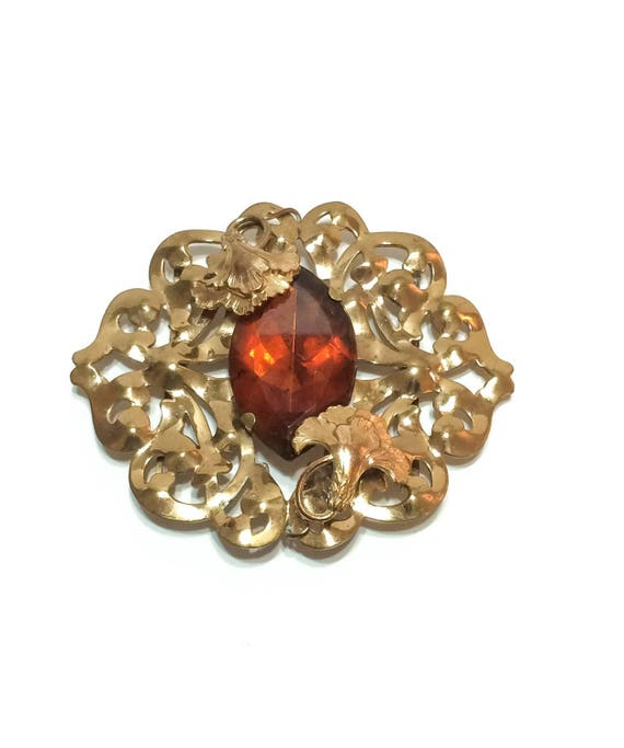 Large Pomerantz Art Nouveau Sash Belt Buckle, Carnations & Foliate Vines, Cut Brass Amber Cabochon, 1930s 1940s, Statement Vintage Jewelry