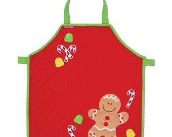 Personalized Monogrammed Stephen Joseph Quilted Christmas Gingerbread Apron--Fast Turnaround--Free Monogramming--