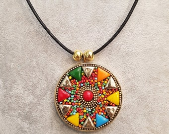 Mosaic  pendant from Nepal,  mosaic brass pendant, Nepalese pendant, ethnic Nepali pendant, gemstone chip pendant, tibetan  necklace